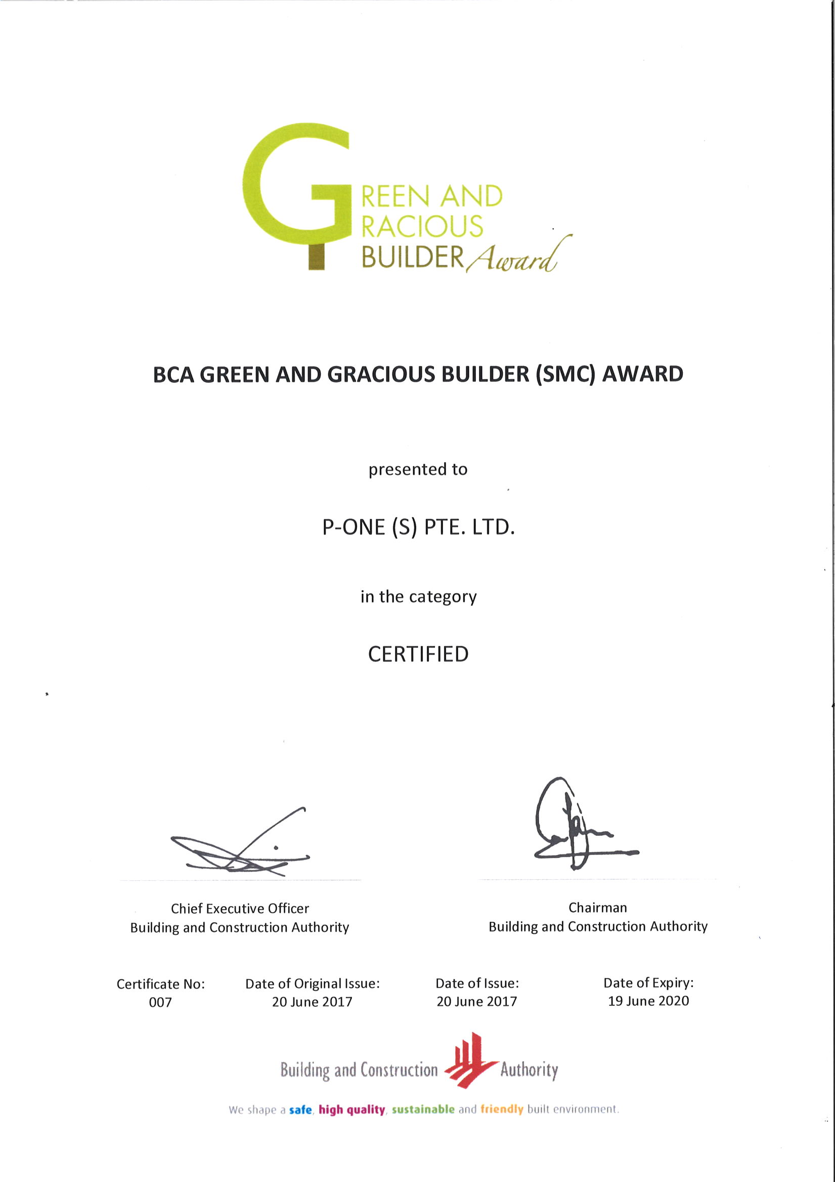 BCA Green and Gracious Builder (SMC) Award
