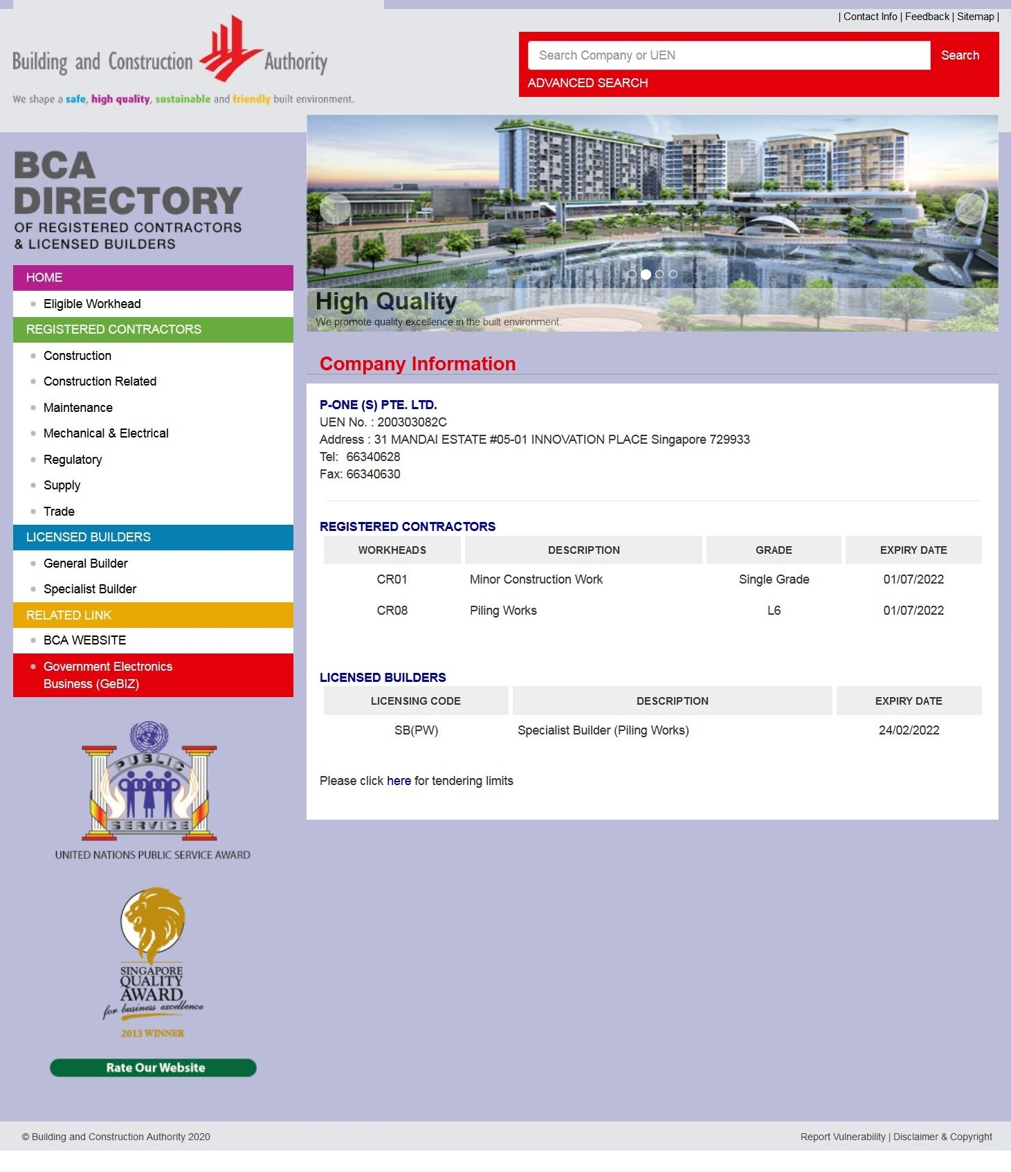 Building Construction Authority (BCA) Singapore